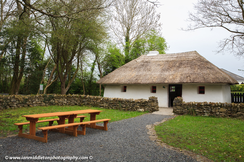 The famine and emigration cottage at Lullymore Heritage Park, Lullymore, County Kildare, Ireland. The park is a great exhibition of the region's biodiversity, peat and boglands and woodlands.